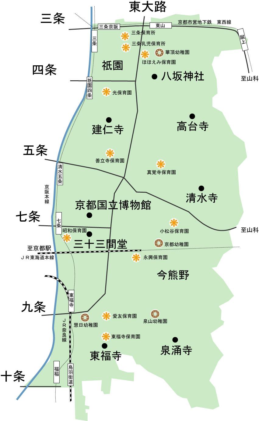 京都東山区の幼稚園・保育園 地図